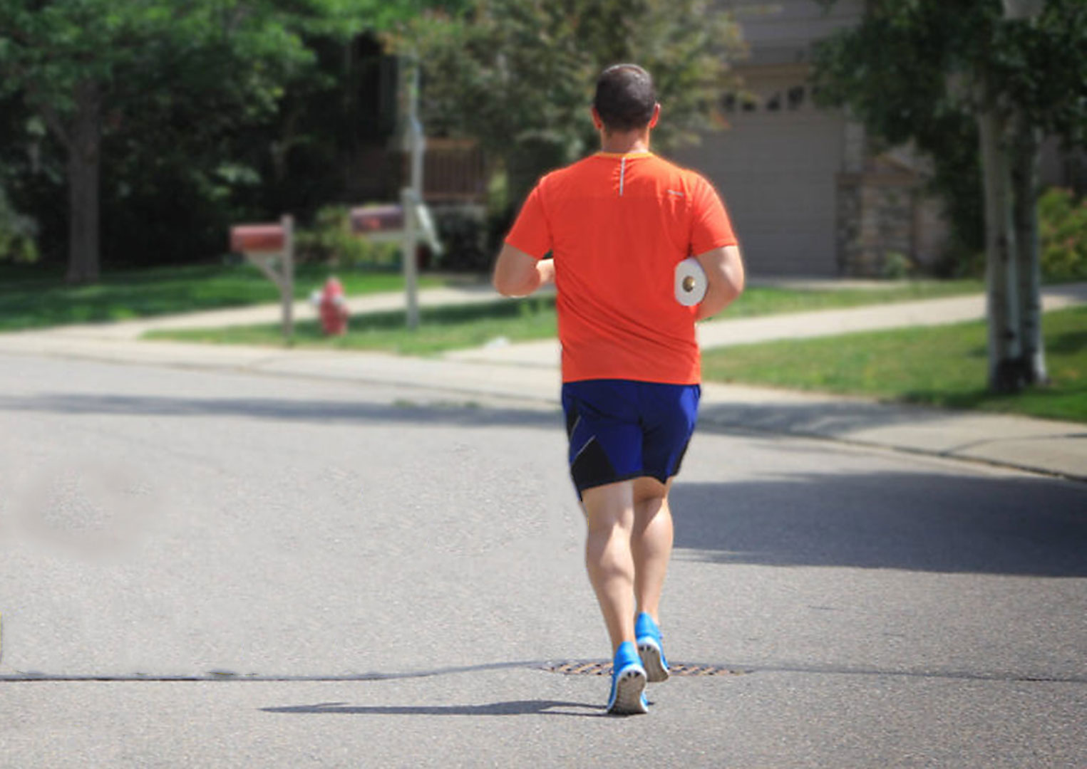 runner with toilet paper